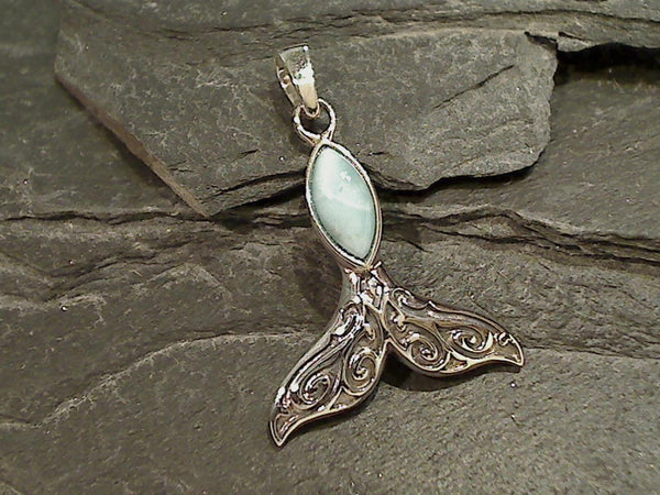 Larimar, Sterling Silver Whale Tail Pendant