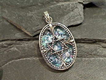 Roman Glass, Sterling Silver Pendant