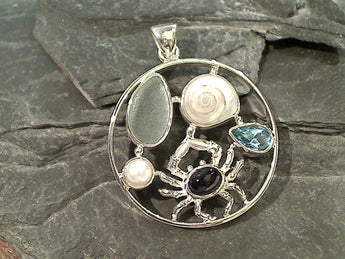 Sea Glass, Iolite, Topaz, Pearl, Sterling Pendant