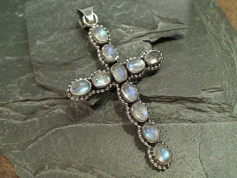 Moonstone, Sterling XL Cross Pendant