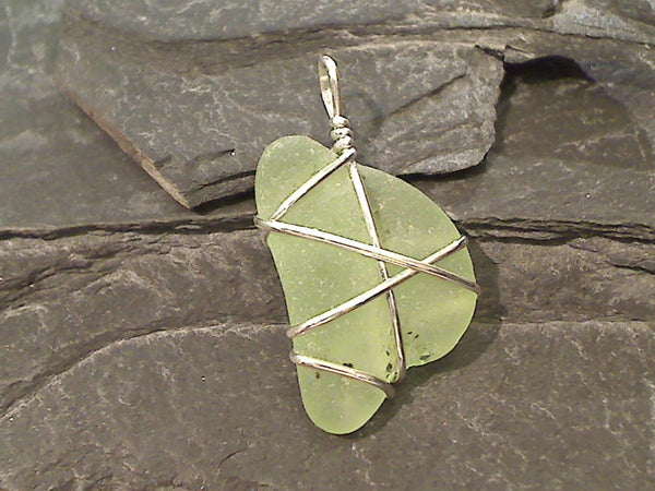NJ Fire Sea Glass, Sterling Silver Pendant