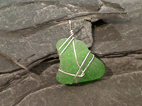 OBX Sea Glass, Sterling Silver Pendant