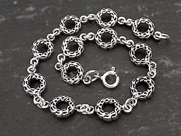 "7.75"" Sterling Silver Celtic Circles Bracelet"