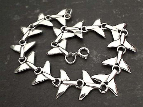 "7.5"" Sterling Silver Whale Tails Bracelet"