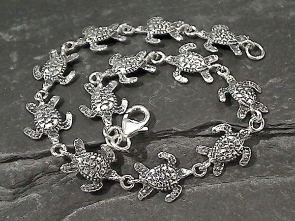 "7.5"" Sterling Silver Sea Turtles Bracelet"