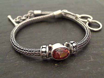 "7""-7.75"" Sunset Topaz, Sterling Silver Bracelet"