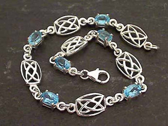 Blue Topaz, Sterling Silver Celtic Bracelet