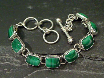 "6.25""-7.5"" Malachite, Fine Sterling Bracelet"