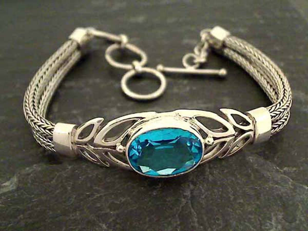 "7"" - 8"" Blue Quartz, Sterling Silver Bracelet"