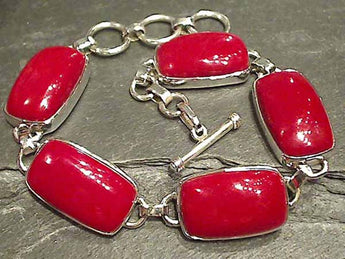 "7""-8"" Simulated Red Coral Bracelet"