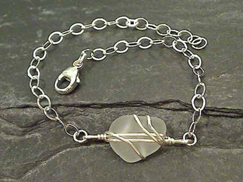 "7""-8"" Sea Glass, Sterling Silver Bracelet"