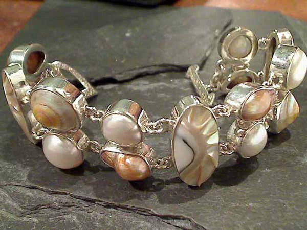 "7"" Shells, Pearls, Sterling Silver Bracelet"