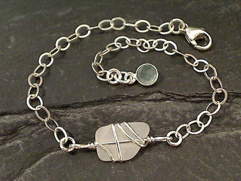 "6"" - 8"" Chalcedony, Sea Glass, Sterling Bracelet"