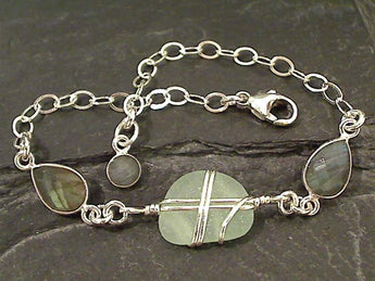 "6"" - 8"" Labradorite, Sea Glass, Sterling Bracelet"
