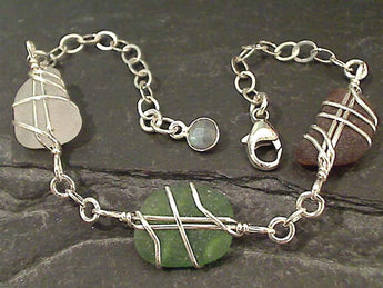 "6"" - 8"" Sea Glass, Sterling Silver Bracelet"