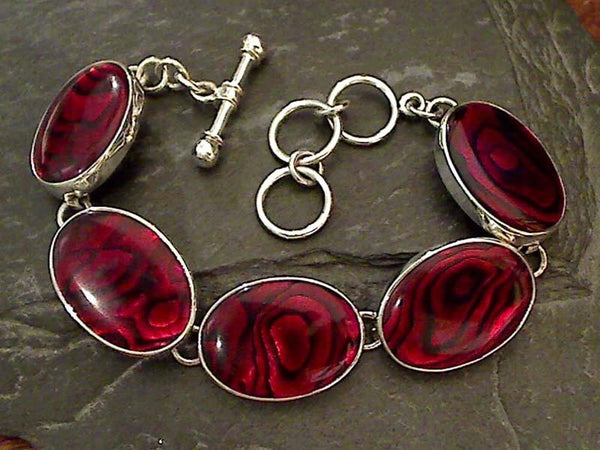 "7.25""-8.25"" Red Abalone, Fine Sterling Bracelet"