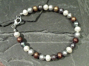 "7.75"" Mixed Pearls, Sterling Silver Bracelet"