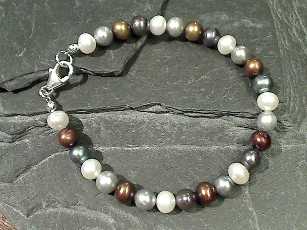 "7"" Mixed Pearls, Sterling Silver Bracelet"