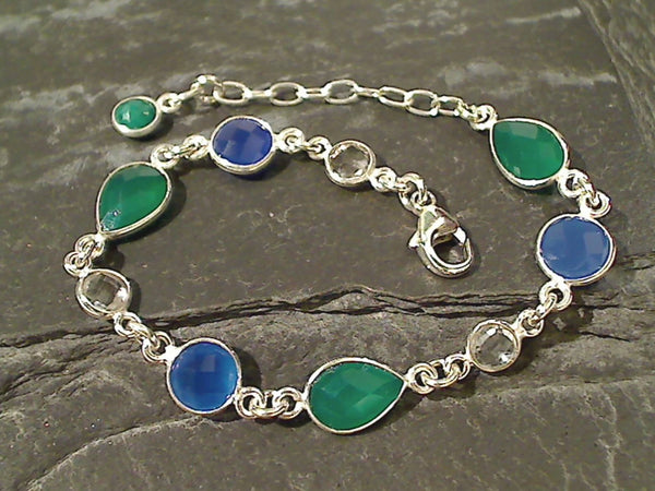 Quartz, Blue and Green Onyx, Sterling Bracelet