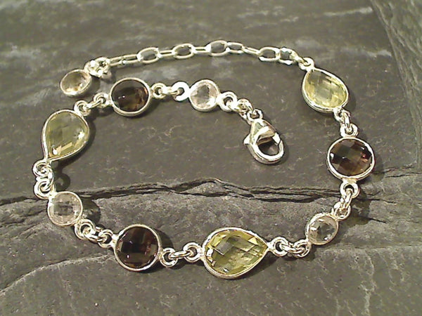 Topaz, Smokey and Clear Quartz, Sterling Bracelet