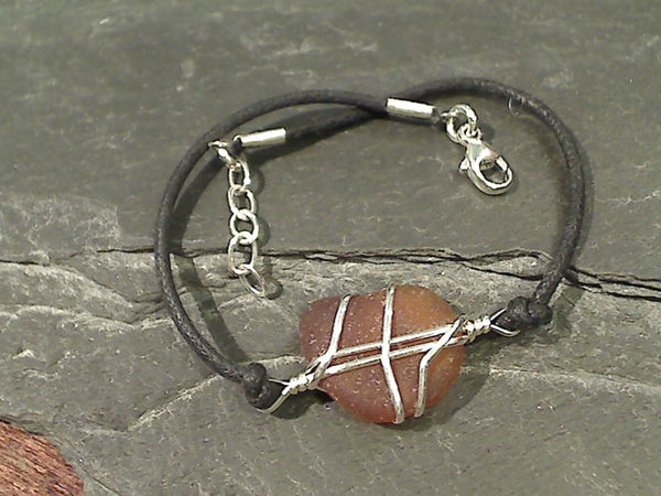 Sea Glass Bracelet, Sterling w/ Cotton cord
