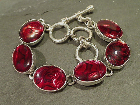 "7.5""-8.75"" Red Abalone, Fine Sterling Bracelet"