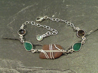 Sea Glass, Green Onyx, Smk Quartz Bracelet