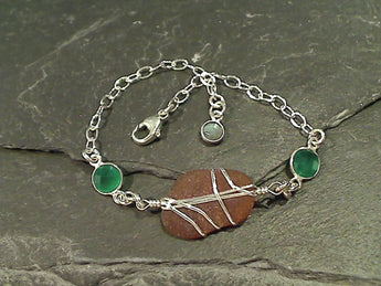 Sea Glass, Green Onyx, Sterling Bracelet