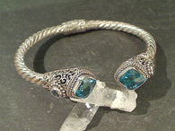 Blue Topaz, Sterling Hinged Cuff Bracelet