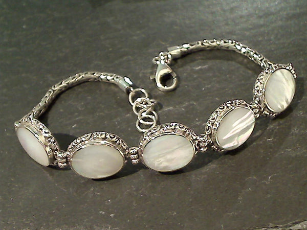 "7.5""-8.25"" Mother of Pearl, Sterling Bracelet"