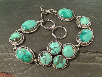 "7.5""-8"" Turquoise, Sterling Silver Bracelet"