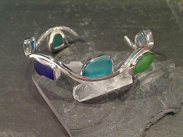 Recycled Glass Fine Sterling Wave Cuff
