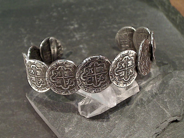 Sterling Silver Replica Spanish Coin Cuff