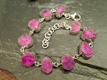 "7.5""-9"" Natural Ruby Sterling Silver Bracelet"