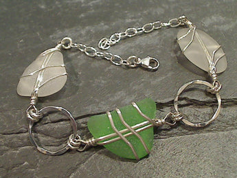"Up to 8"" OBX Sea Glass, Sterling Silver Bracelet"