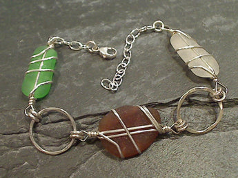OBX Sea Glass, Sterling Silver Bracelet