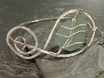 OBX Sea Glass, Sterling Silver Bangle
