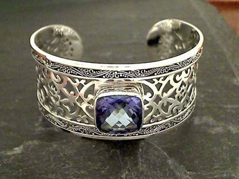 Blue Quartz, Sterling Silver Wide Cuff Bracelet