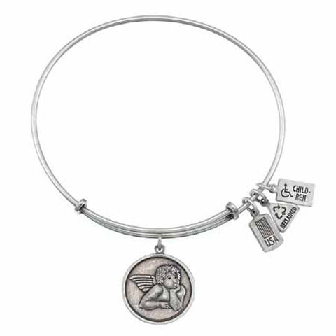 Raphael Angel Charm Bangle, Recycled Brass