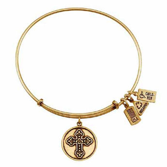 Cross Fleur-De-Lis Charm Bangle, Recycled Brass