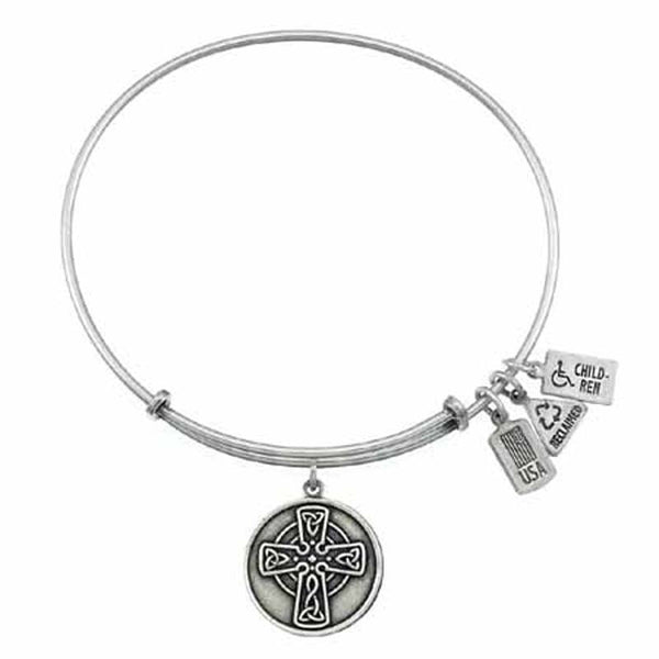 Celtic Cross Charm Bangle, Recycled Brass