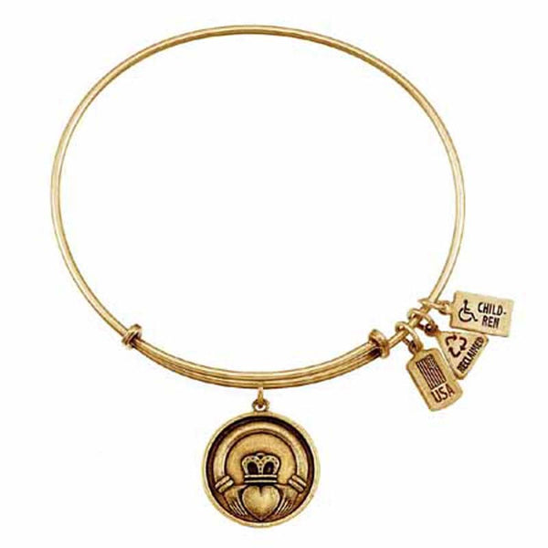 Claddagh Charm Bangle, Recycled Brass