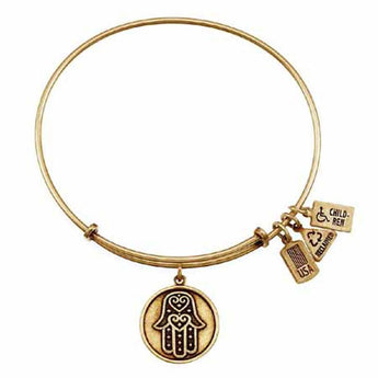 Hamsa Charm Bangle, Recycled Brass