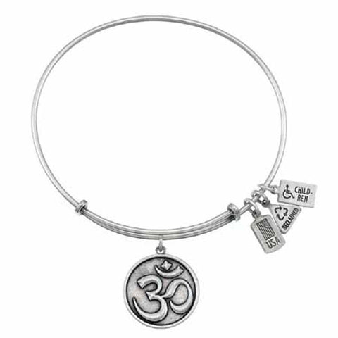 Om Symbol Charm Bangle, Recycled Brass