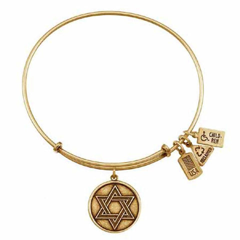 Star of David Charm Bangle, Recycled Brass