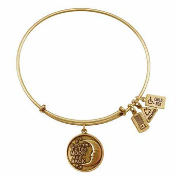 I Love You Charm Bangle, Recycled Brass