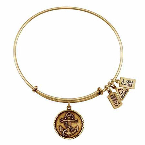 Anchor Charm Bangle, Recycled Brass
