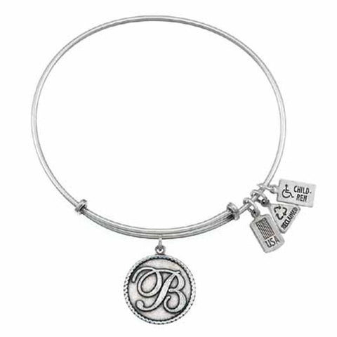 "Love Letters ""B"" Charm Bangle, Recycled Brass"