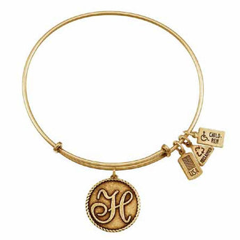 "Love Letters ""H"" Charm Bangle, Recycled Brass"