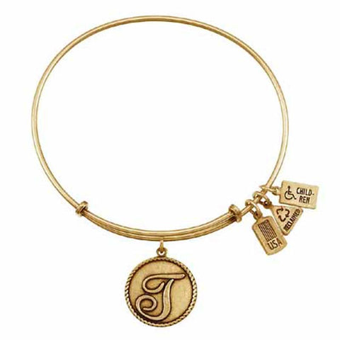 "Love Letters ""T"" Charm Bangle, Recycled Brass"